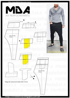 Perfecting Sew A T-shirt for Men Ideas. Immaculate Sew A T-shirt for Men Ideas. Sewing Men, Sewing Pants, Sewing Clothes, Diy Clothing, Clothing Patterns, Sewing Patterns, Diy Fashion, Mens Fashion, Fashion Design