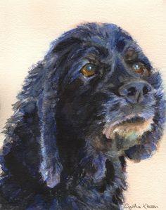 Watercolor commissioned portrait of the Cocker Spaniel Bluejay, by Cynthia Klassen. See CynthiaKlassen.com