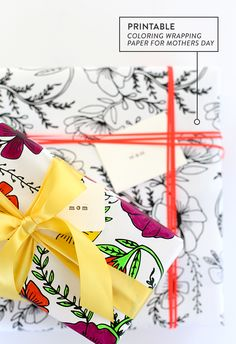 Printable Coloring Wrapping Paper for Mothers Day