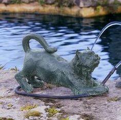 Raining Cats Piped Bronze Garden Statue $