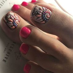 Fun nails, pretty toe nails, glitter toe nails, pink toe nails, g Glitter Toe Nails, Pink Toe Nails, Pretty Toe Nails, Toe Nail Color, Cute Toe Nails, Feet Nails, Toe Nail Art, Gorgeous Nails, Nail Colors