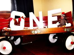 Sock Monkey Birthday - decor with little red wagon, ONE and monkeys!