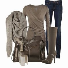 Fall Outfit With Cozy Oversized Scarf,Long Boots and Handbag