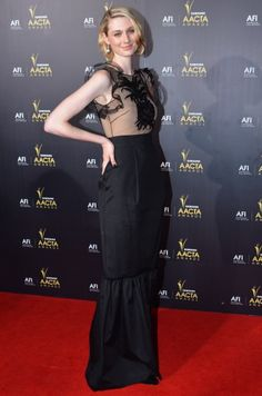 Elizabeth Debicki looking chic in a Collette Dinnigan dress at the 2012 Samsung AACTA Awards Ceremony at Sydney Opera House. Red Carpet. January 2012