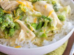 chickenandbroccolioverrice - could be made healthier with low fat or low sodiums soups & fat free sour cream.