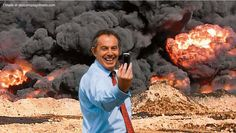 Wow! A perfect Selfie for Tony Blair,  Hey Fans, Here is a selfie of Tony Blair.  Its like a war monger Selfie.  I used to like Tony Blair but with all these constant attack and exposures on him, I wonder.  This Selfie of Tony Blair, the former British Prime minister shows him in front or a war zone or in front of an explosion smiling like made .. ha ha ha.....  Maybe it depicts him since he joined George Bush in getting the masses to agree to war in Iraq in 2003.