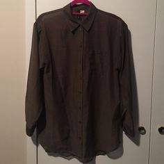 H&M olive green button down Button down blouse. One pocket on left side. Favorite color  H&M Tops Button Down Shirts