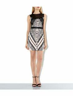 Black Mesh Panel Lace Print Bodycon Dress