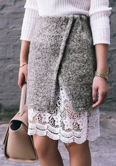 { Lace Hem Pencil Skirt }