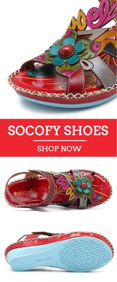 UP TO 62% OFF! SOCOFY Bohemian Handmade Leather Adjustable Hook Loop Printing Forest Sandals. Worldwide Shipping,Size US 5 To US 11.SHOP NOW!#newchic#SOCOFY#shoes#vintage#sandals#fashion