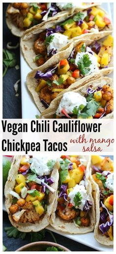 Chili Cauliflower Chickpea Tacos with Mango Salsa (Vegan, Gluten-Free)