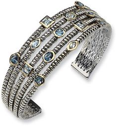 ApplesofGold.com - Town & Country Collection Sterling Silver and Blue Topaz Cuff Bracelet