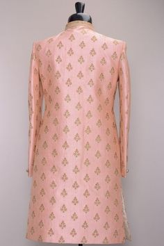 Pastel Pink Stone Embroidered Raw Silk Wedding Sherwani-SH440