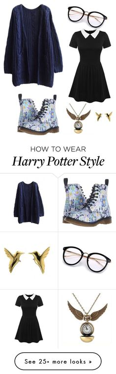 """Ravenclaw"" by ravenflower on Polyvore featuring WithChic and Dr. Martens #harry_potter_style_outfits"