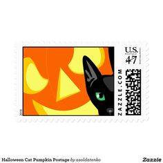 Send out your most special Halloween mail with these retro style Halloween pumpkin and cat postage stamp. A scary orange and yellow jack-o-lantern face creeps up behind a black cat. Perfect for sending out those holiday greeting cards. #TrickOrTreat #HappyHalloween