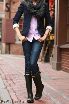 Chic autumn look with Hunter boots