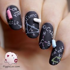 3D chalkboard nail art #nailart - bellashoot.com & bellashoot iPhone & iPad app