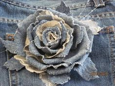 Add a Rose To Your Jean or Jacket Love it!!! Denim Flowers, Cloth Flowers, Lace Flowers, Felt Flowers, Fabric Flowers, Wedding Flowers, Shabby Chic Flowers, Crocheted Flowers, Leather Flowers