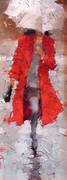 Andre Kohn- vintage chanel #8 beautiful oil paint of a woman, in red, walking in the rain