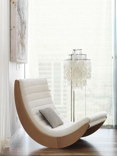 """When I sit back in my rocking chair someday, I want to be able to say I've done it all"" - DOLLY PARTON - (Modern white rocking chair. Photo by Chris Court) Funky Furniture, Classic Furniture, Unique Furniture, Furniture Design, Furniture Outlet, Furniture Stores, Luxury Furniture, Modular Furniture, Furniture Movers"