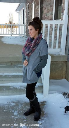 leggings, boots, leg warmers, scarf