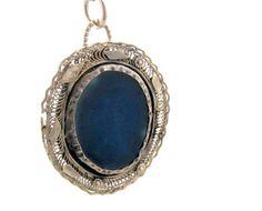 Customized Necklace  pendant Filigree work with blue by Viyoli, $235.00