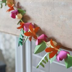 Spring Paper Flower Garland or Lei. Tutorial and pattern by clicking through. thanks so xox