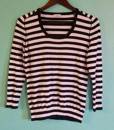 Used Akris Punto black white striped cotton/elastane knit top size US12 F 44 #Akris #KnitTop #Casual