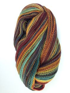 This is my ITW Fiber Club Rambouillet fiber in the colorway Capt'n TightpantsI got 748 yards of a 2ply from 4oz's