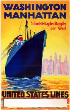Washington Manhattan United States Lines, 1930s - original vintage poster by R. Devignes listed on AntikBar.co.uk