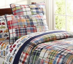 Madras Quilted Bedding #PotteryBarnKids This is Quinton's big boy bedding. I just have to figure out what color I want to paint his walls!