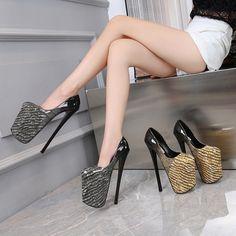Drag Queen Heels, Stiletto Heels, High Heels, Sky High, Platform Shoes, Snake Print, Women's Pumps, Night Club, Patent Leather