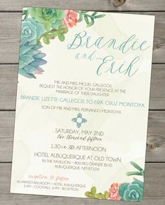 Wedding Invitation Southwest Succulents Watercolor Design Cactus by The Funky Olive - midsouthbride.com