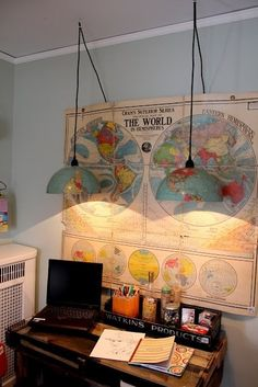 World map on wall with globe lamp shade. Itsy Bits and Pieces: The Bachman's Spring 2011 Ideas House- the Bedrooms.