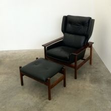RARE 1960'S NORWEGIAN MODERN 4 PIECE BLACK LEATHER BRAZILIAN ROSEWOOD LOUNGE SUITE of exceptional quality-Norway-SVEN IVAR DYSTHE for Dokka Mobiler-From Dysthe's 4000 series-mrmod-furniture