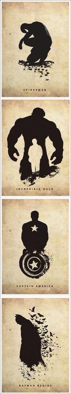Posters criativos de filmes de heróis.