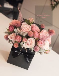 Mini natural flower box arrangement in Pink.