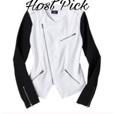 💝HP 10-17-16💝🔰NWOT🔰Super Cute Jacket 💝Best In Outerwear Host Pick💝Super Cute Black Sleeve White Jacket. Never Worn. 76% polyester, 20% Rayon, 4% Spandex Mossimo Supply Co Jackets & Coats