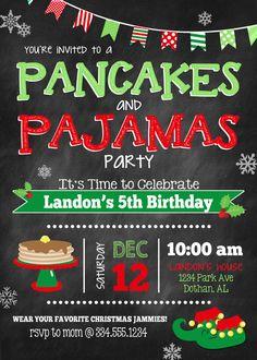 Pancakes and Pajamas Birthday Invitation Christmas Pancakes Christmas Pajama Party, Christmas Birthday Party, Christmas Party Themes, Kids Christmas, Christmas Poster, Etsy Christmas, Christmas Games, Christmas Movies, Christmas Stuff