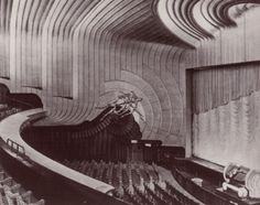 Fabulous Art Deco interior of the Odeon cinema in Leicester Square, London. Built in 1937, it had 2116 seats, all covered in faux leopard skin.