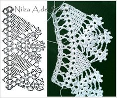 Crochet lace edging: points + flowery scallops ~~ кайма
