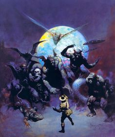 """#FrankFrazetta """"Strange Creatures""""  From John Keel's """"Time and Space,"""" originally published in 1970 with artwork by Frank Frazetta, is a comprehensive encyclopedia of monsters from around the world. #Frazetta #OilonCanvas #SciFi #FineArt #Artist #Monster #Dracula #Tarzan #FantasyArt #Ghoul #Creature #Skull #Lizzard #Alien #UFO"""