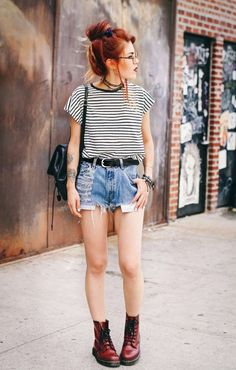 † Denim Shorts † Red Dr. Martens † Black Leather Backpack † Striped Shirt † Arm Candy † Le Happy †