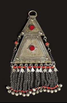 Yemen | Pendant; silver, glass and coral | ca. early 1900s