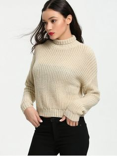 Turtleneck Chunky Sweater - APRICOT S