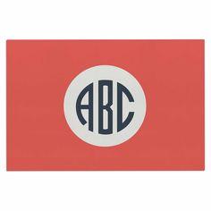 "Kess Original ""Classic Red Circle Monogram"" Digital Illustration Decorative Door Mat"
