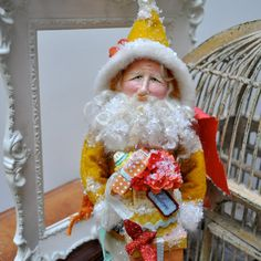 Santa art doll  one of a kind clay and cloth by peonycabinstudio