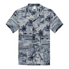 Men Hawaiian Aloha Shirt in Gray Sunset Scenic