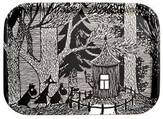 Muumi tarjotin Moomin Cottage in the wood Tove Jansson, Ink Illustrations, Children's Book Illustration, Moomin Valley, Weird Creatures, Illustrators, Art Drawings, Poster, Prints
