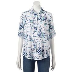 Croft & Barrow® Print Shadow-Stripe Shirt - Women's